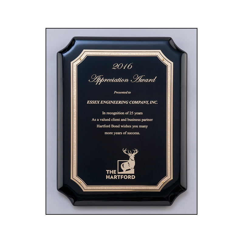 P5078 -8 x 10 1/2 - High gloss black stained plaque with gold florentine border plate