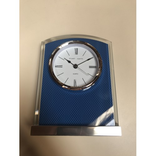 Glass Clock with Carbon Fiber Design on Aluminum Base - BC1007