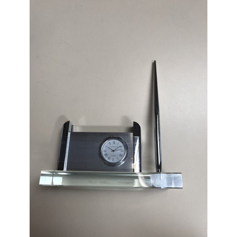 Clock, Pen, and Business Card Holder on Clear Glass Base