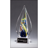 Flame-Shaped Art Glass Award on Clear Glass Base