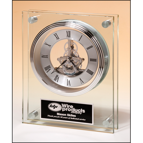 Glass Clock with Rosewood Piano-Finish Base