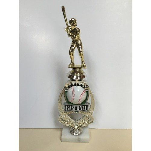 Baseball Starburst Trophy with baseball player