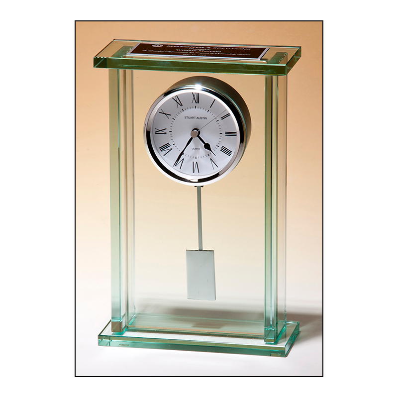 Large Glass Pendulum Clock Three Hand Movement with White Dial BC1012