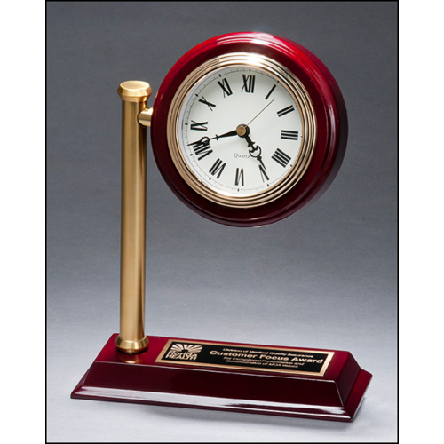Rail Station Style Desk Clock on Rosewood Finish High Gloss Base BC1000
