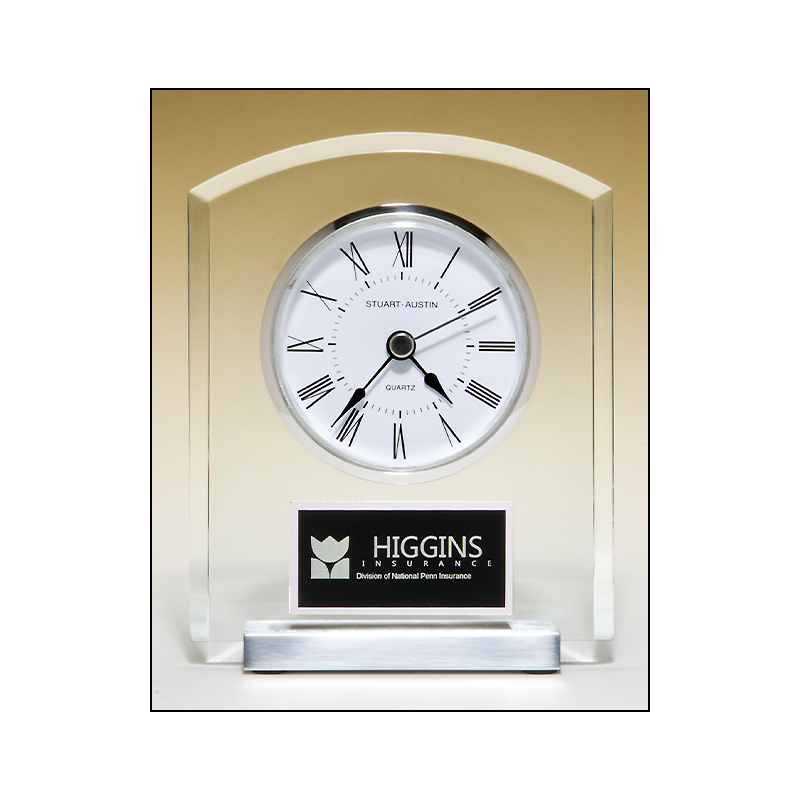 Desk Clock with Beveled Upright, Silver Bezel and Base, Three Hand Movement BC961