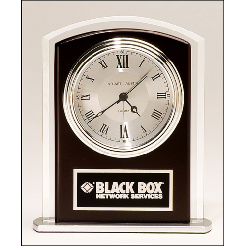 Beveled Glass with Wood Accent, Silver Bezel and Dial, Three Hand Movement