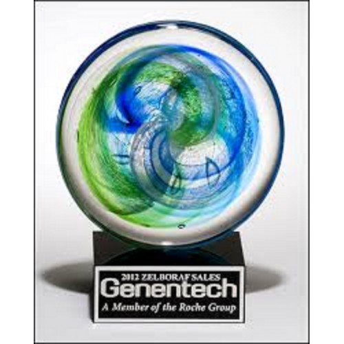 Art Glass disk with blue and light green accents