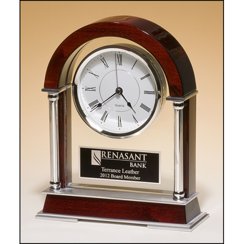 Rosewood Piano Finish Mantle Clock with Chrome Plated Posts and Silver Aluminum Accents BC879
