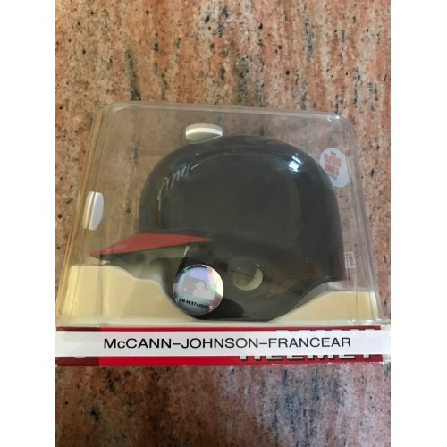 Brian McCann, Chris Johnson, and Jeff Francoeur Autographed Mini Helmet