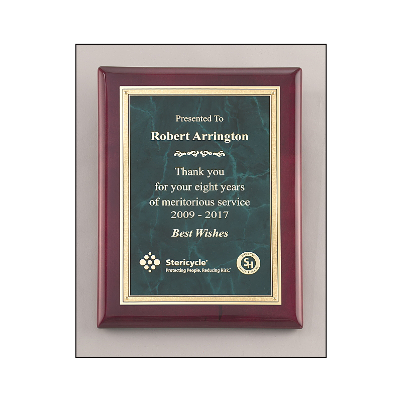 P5076 (9x12) Emerald marble plate with gold florentine border on rosewood piano-finish plaque