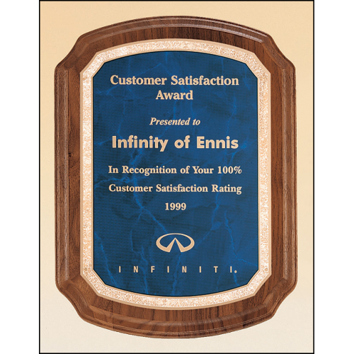 P3495 (8x10 1/2) Solid American walnut Airflyte plaque available in three sizes and three marble finishes.