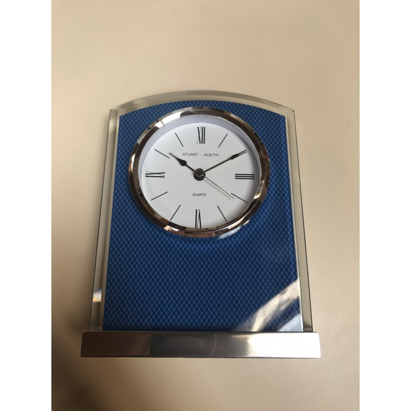 Glass Clock with Carbon Fiber Design on Aluminum Base