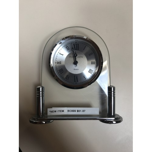 Desk Clock with Beveled Glass, Silver Metal Base, Three Hand Movement - BC999