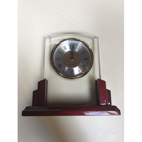 Glass Clock with World Dial on Black High Gloss Base - BC1039