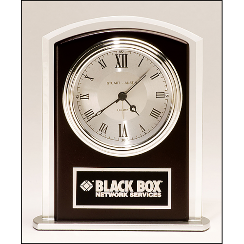 Desk clock with beveled glass upright and silver metal base