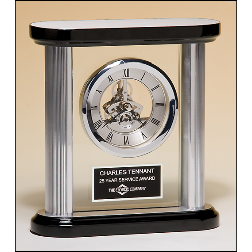 Blue and silver desk clock with world time dial, matching blue and silver engraving plate