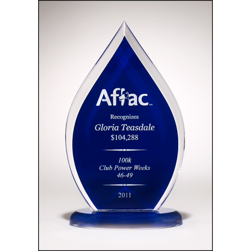 Flame Series clear acrylic award with blue silk screened back