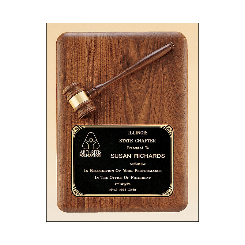American walnut plaque with an antique bronze gavel casting
