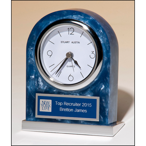 Blue Marbleized Acrylic Clock with Polished Silver Base and Matching Blue and Silver Engraving Plate BC980