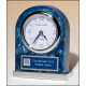 Blue Marbleized Acrylic Clock with Polished Silver Base and Matching Blue and Silver Engraving Plate