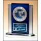 Blue and Silver Desk Clock with World Time Clock Movement, Matching Blue and Silver Engraving Plate