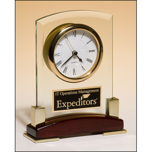 Beveled Glass Desktop Clock, Rosewood Piano FInish Base with Gold Metal Accents BC872