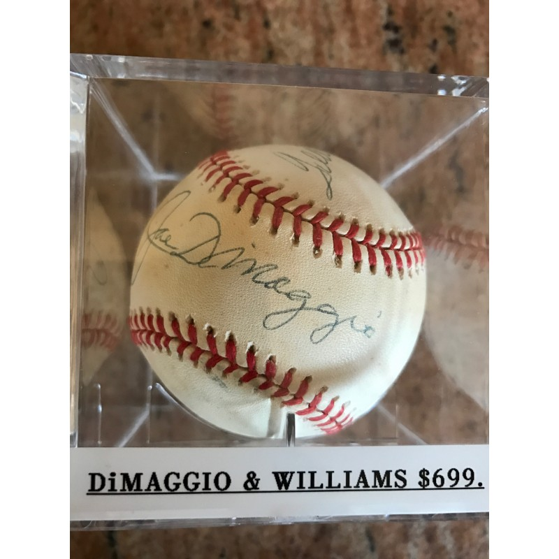14cd8d02b4a Joe Dimaggio and Ted Williams Autographed Baseball